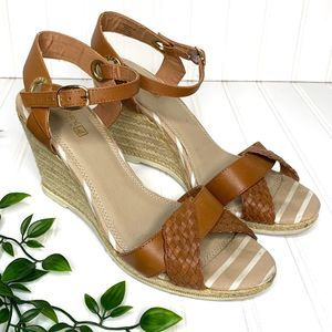 Sperry Brown Tan White Braided Leather Wedges